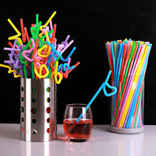 100pcs Bendable Plastic Drinking Straws Striped Birthday Wedding Party