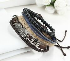Men's Braided Leather Stainless Steel Cuff Bangle Bracelet Wristband Unique