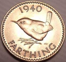 Rare Incredible Great Britain 1940 Farthing~Wren~Semi-Key Date~Free Shipping