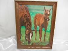 Old Vtg 1961 PAINT BY NUMBER Horse Painting Wood Picture Frame Artist Signed