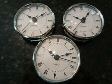 "3 PAK - 3-1/8""(80MM)QUARTZ CLOCK FIT-UP/Insert,Silver Trim, Roman,White Face,HMS"