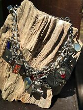 VINTAGE STERLING SILVER 1975 HIGH SCHOOL GIRLS CHARM 7 INCH BRACELET #1392