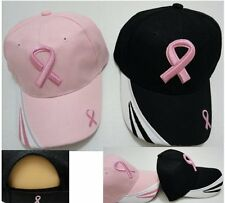 24 BREAST CANCER AWARENESS Baseball Caps Curved Bill Hats Black Pink