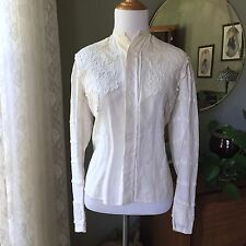 Edwardian Linen Blouse Top Schiffli Lace Trim Victorian Collar Pintuck Tie Back