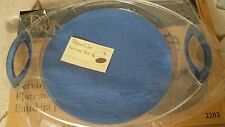 "Pampered Chef Acrylic Serving Tray Plate Blue/Clear 13.5"" #2283 Grip Pad NIB"