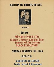 Malcolm X 1965 Speech Flyer Reprint On Original Period 1960s Paper
