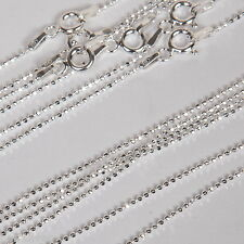 "100 pcs 16"" 18"" 20"" Sterling Silver 925 DIAMOND CUT 1.2mm BALL Chain Necklaces"