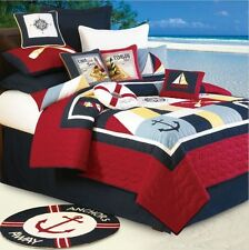 SAIL AWAY 4pc Full Queen QUILT SET : NAUTICAL SAILBOAT LIGHTHOUSE BOAT TROPICAL