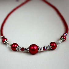 Red pearls crystals vintage style silver collar choker party beaded necklace