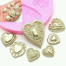 New Hot Heart Diamond Relief Mould sugarpaste Cupcake Bakeware fondant Chocolate