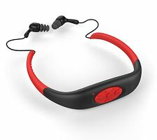 IPX8 Waterproof Sports MP3 Player Neckband FM Radio Swimming Headphones 4GB Red