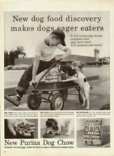 1950's Vintage ad for New Purina Dog Chow~Cute little boy/wagon/Dog