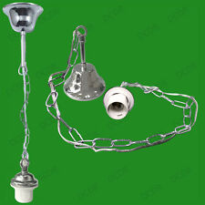 Metal Ceiling Rose & Chain Pendant Chandelier Lamp Holder, ES E27 Light Fitting