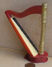 1:12 Scale Gilded Mahogany Harp Dolls House Miniature Furniture Accessory 193