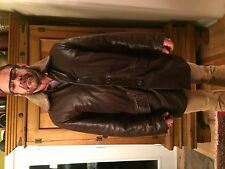 Men's brown Italian 3/4 leather lamb skin coat (L)
