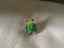 Lovely Silver Ball Shaped Pendant Formed as a Green and Yellow Glass Frog