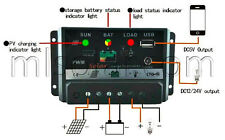 30A AMP PV Solar Charge Controller PWM w/USB 12 Volt Solar Panel Battery RV Boat