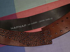 cinturon naf naf nafnaf piel marron tachuelas cuir verilable genuine leather 85