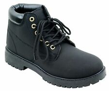 Women Mid Heel Combat Lace Up Work Boots Ankle Military Lug Sole Hiking Booties