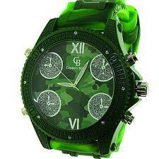 MENS ICED OUT GREEN CAMOUFLAGE BIG FACE CAPTAIN BLING HIP HOP BULLET BAND WATCH