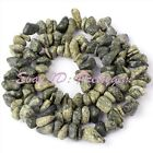 """6-8mm Freeform Green Snowflake Obsidian Chips Gemstone Spacer Beads Strand 16"""""""