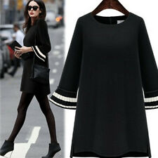 Autumn Fashion Women Trumpet Sleeve Cocktail Black Bottom Dress Plus Size L- 5XL