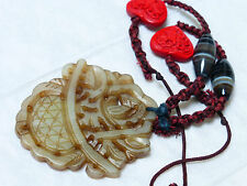 CHINESE VINTAGE CARVED JADE PENDANT AGATE AND CINNABAR BEADS