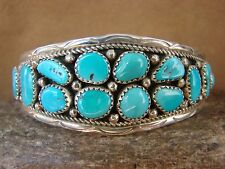 Native American Sterling Silver Turquoise Cluster Bracelet by Anita Whitegoat