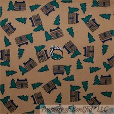 BonEful Fabric FQ Cotton Quilt Brown Green Log Cabin Xmas Tree Hunt Fish Pattern