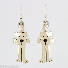 Far Fetched Lulu DOG with Bone EARRINGS Silver Dangle Mima & Oly - Gift Boxed