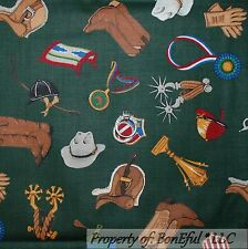 BonEful Fabric FQ Cotton Quilt VTG Green Horse Club Girl Scout Riding 4H Cowgirl