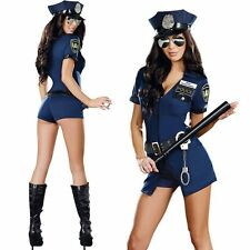 Sexy Police Cop Uniform Costume Women Halloween Cosplay Party Fancy Dress Outfit