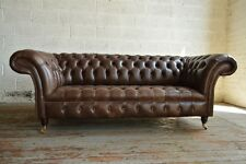 HANDMADE CHESTERFIELD SOFA COUCH CHAIR 3 SEATER VINTAGE ANTIQUE BROWN LEATHER