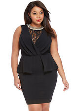 Black Plus Size Lace Peplum Midi Party Evening Dress Club Wear Size UK 16-18
