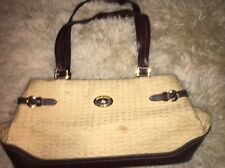 Vintage ETIENNE AIGNER Leather & Straw Defects Shoulder Bag Handbag Purse