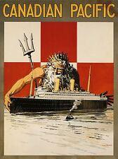 Stampa viaggio NETTUNO POSEIDON nave FODERA OCEAN Dio Greco Romana Canada nofl1333