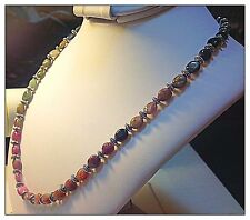 Watermelon Tourmaline Necklace 22 inch Genuine Gems Tibetan Silver Pewter Beads