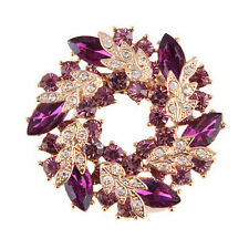 Hot Fashion Shining Rhinestone Gold Plated Redbud Flower Pin Brooches Jewelry FG