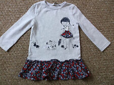 Girls Grey Puppy floral long sleeve dress age 12-18 months George
