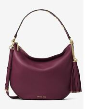 NWT Authentic Michael Kors Brooklyn Large Convertible Leather Hobo Bag ~Plum