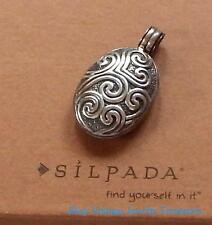 Silpada .925 Sterling Silver Oval Scroll Locket Pendant S1392