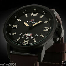 Luxury Men Army Date Leather Stainless Steel Sport Waterproof Quartz Wrist Watch