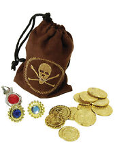 Pirate Coin Bag With Jewellery Handbag Pouch Gems Ring Fancy Dress Accessory New