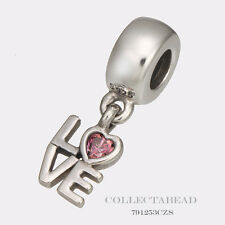 Authentic Pandora Sterling Silver Dangle Pink Love Bead 791253CZS