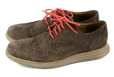 Cole Haan LunarGrand Wing Tip Oxford Brown Suede Leather Shoes C20669 Men's 8.5M