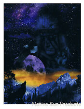 "Ultra Soft Plush Queen Blanket Howling Wolf Native Spirit 79x95"" New"