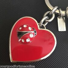 NEW Coach RARE Ladybug Crystal RED Heart Photo Locket Key Chain Ring Fob 92243