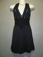 BCBG GIRLS BLACK Lace Front Adjustable Halter Knit Top SZ 6 NEW