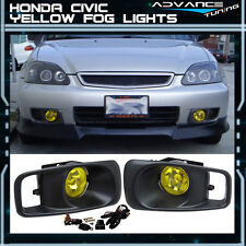 Fit For 99-00 Honda Civic Si EK JDM Bumper Fog Lights Lamps Kit Yellow Lens
