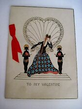 Vintage Antique Valentine Card w/ Girl In Big Fan Chair & Two Indian Boys
